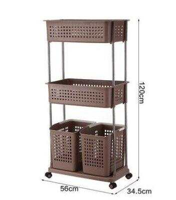 Multi-layer Dirty Clothes Storage Racks Plastic pulley Laundry Basket Rack  Convenient Breathable Rack Com Painel