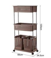 Multi layer Dirty Clothes Storage Racks Plastic pulley Laundry Basket Rack Convenient Breathable Rack Com Painel