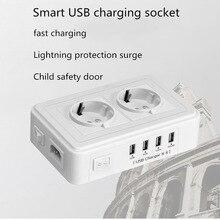 Aterramento 2 adaptador de tomada de alimentação de 4 USB carregador de parede doca 5 V 2.4A surge protector faixa de extensão para a câmera do telefone casa