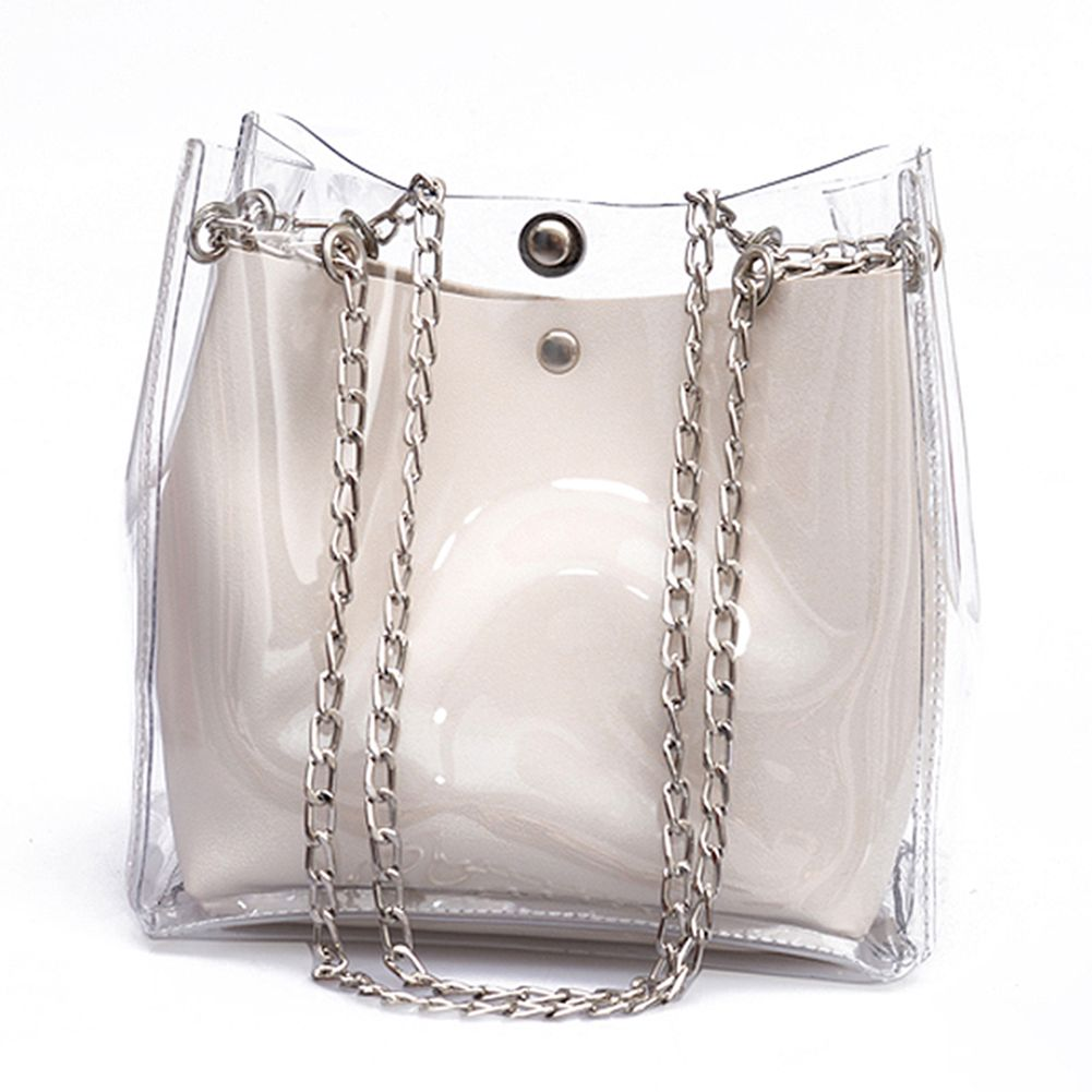HCH-Women Small Bucket Bags Plastic Transparent Totes Composite Chain Bag Female Mini Jelly Handbags WhiteHCH-Women Small Bucket Bags Plastic Transparent Totes Composite Chain Bag Female Mini Jelly Handbags White