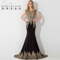 2016 Sexy Sheer Appliques Lace Mermaid Long Prom Dresses Under 50 Elegant Royal Blue Evening Party