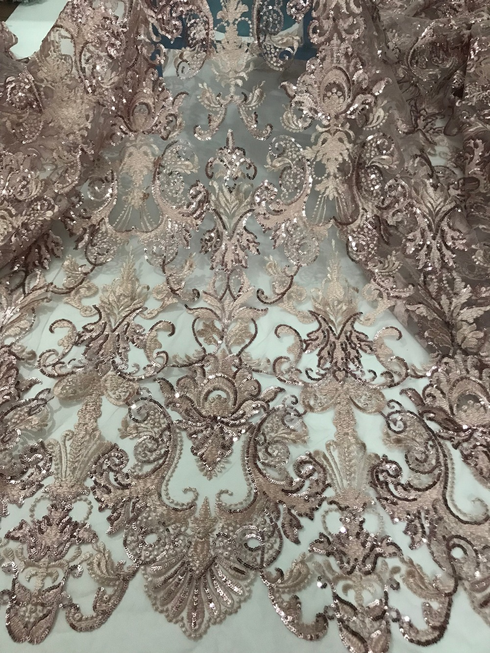 fast shipping 5 yards embroidery tulle mesh lace fabric SYJ 71518 with sequins for wedding dress