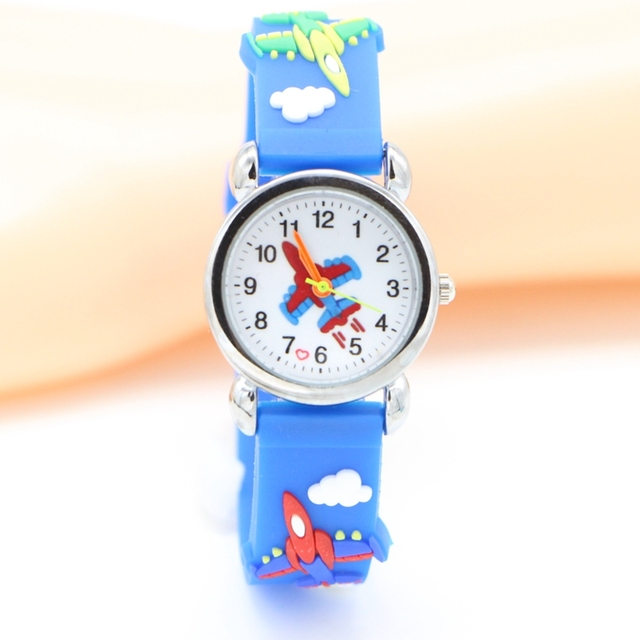Hot 3D Cartoon aircraft plain Design Analog Watch Children Kids Girls Boys Stude