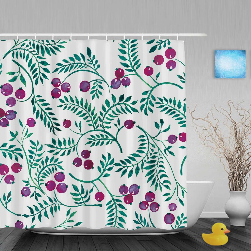 Bright shower curtain - Christmas Home Decor Shower Curtain Bright Pink Cherry Decor Bathroom Shower Curtains Waterproof Polyester Fabric With Hooks