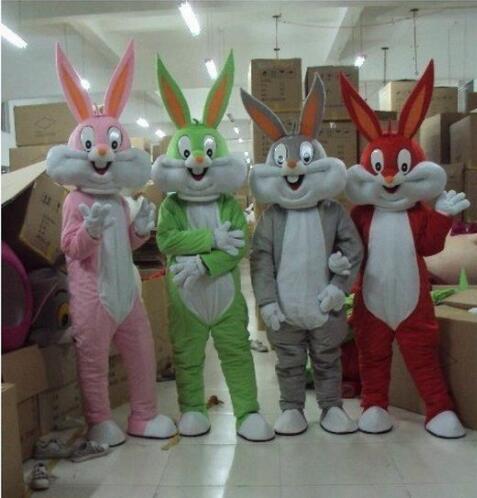 Haute qualité adulte taille dessin animé bugs lapin mascotte Costume mascotte cosplay halloween costume noël fou vente