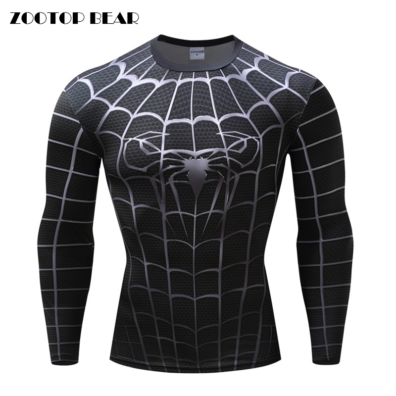 Fitness MMA Compression Shirt Men Anime Bodybuilding Long Sleeve Crossfit 3D Spiderman Punisher T Shirt Top Tees Quick Dry Shirt
