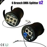 2Unit D6 Branch DMX Splitter 6 channels DMX512 Modular Splitter Amplifier Cylinder Spliter for Stage Light DMX Signal Enlarger