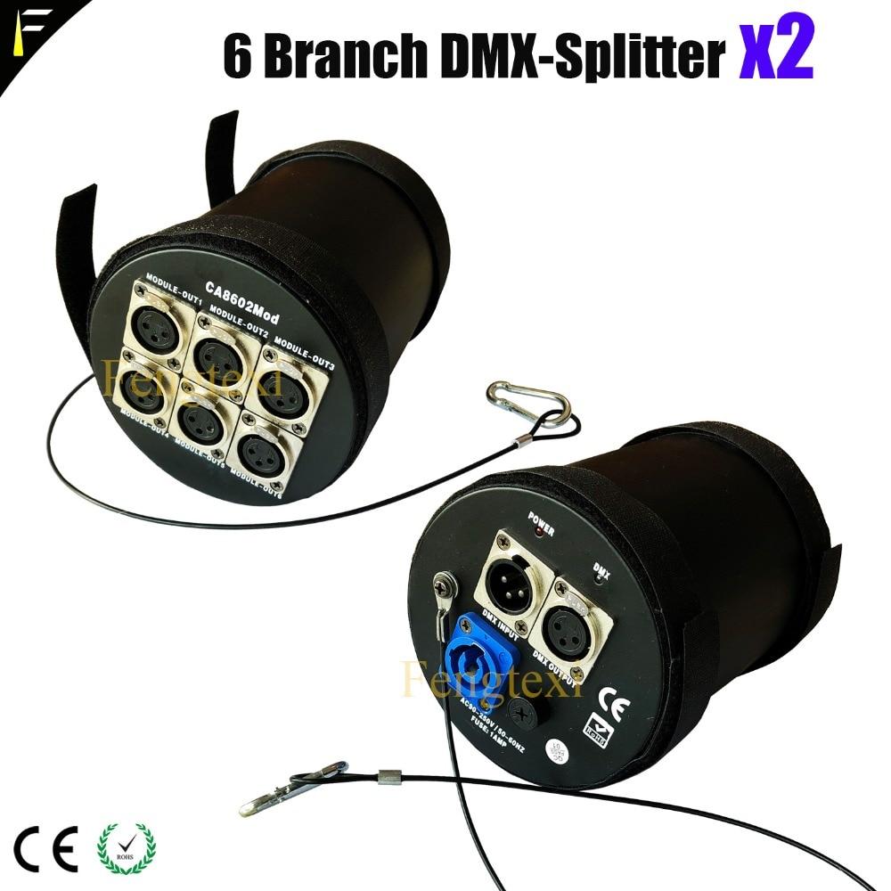 Séparateur de cylindre d'amplificateur de séparateur modulaire DMX512 de 2 canaux D6 branche DMX 6 canaux pour la lumière de scène