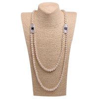 Woman Pearl Chain White Long Pearl Necklace Pure Natural Freshwater Shell Pearl Beads Color Bowknot Crystal