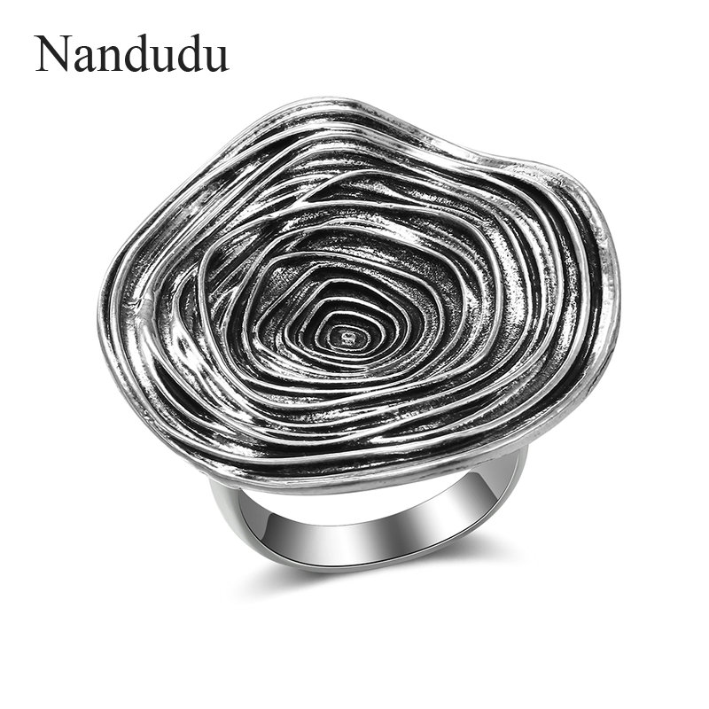 Nandudu Large Round Ring for Women Retro Silver Color Circle Stripe Decoration Rings Fashion Jewelry Bijouterie Gift R2027 6pcs of stylish color glazed round rings for women