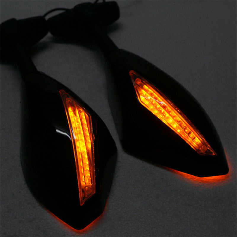 2pcs Motorcycle Rearview Mirrors Black With LED Turn Signal For Honda Kawasaki Suzuki MAL999