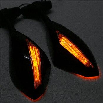 Espejos retrovisores de la motocicleta 2 piezas negro con la señal de giro del LED para Honda Kawasaki Suzuki MAL999