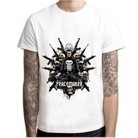 punisher  t shirt men Summer print T Shirt boy short sleeve with white color Fashion Top Tees M7R1194