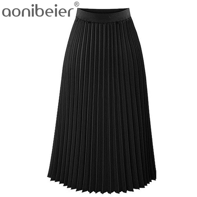 Aonibeier Fashion Women's High Waist Pleated Solid Color Length Elastic Skirt Promotions Lady Black Pink Party Casual Skirts 1
