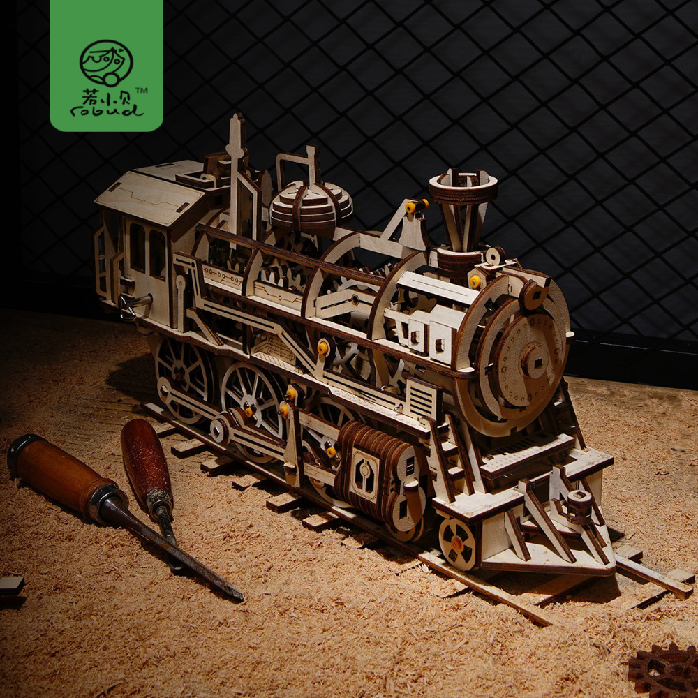 Robud Creative 4 Kinds DIY Laser Cutting 3D Mechanical Model Wooden Puzzle Game Assembly Toy Gift