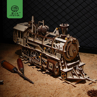 Robud Creative 4 Kinds DIY Laser Cutting 3D Mechanical Model Wooden Puzzle Game Assembly Toy Gift for Children Teens Adult LK