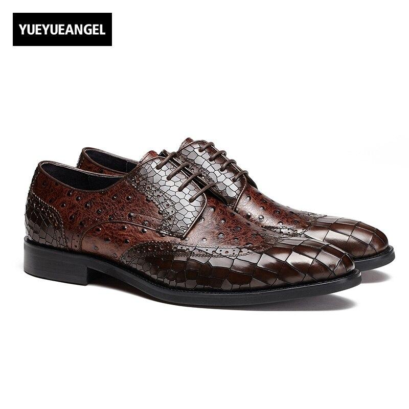4cf6aaed Del Patrón A Hecho De Inglaterra Formal En Moda Punta Encaje Cuero Hombre  Estilo Zapatos Nuevo ...