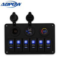 ADPOW 6 Gang LED Rocker Switch Panel Circuit Breaker Charger 2 USB Socket Cigaretter Plug Voltmeter Car Auto Switches 12v|Car Switches & Relays| |  -