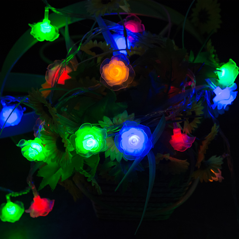 5m LED christmas decorations for home rose garland light string christmas lights garden decoration led flower decorative lights