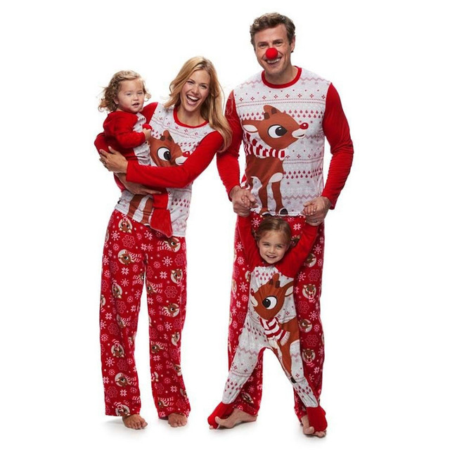 f2b0360b0d 2018 Newest Family Matching Christmas Pajamas Set Women Men Baby Kids  Sleepwear Nightwear Casual T-Shirt Pants