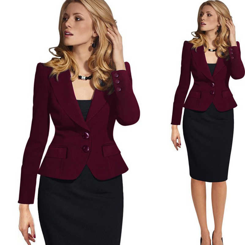 6b392fcd1 XL Fashion Autumn Women Blazers and Jackets Work Office Lady Suit ...