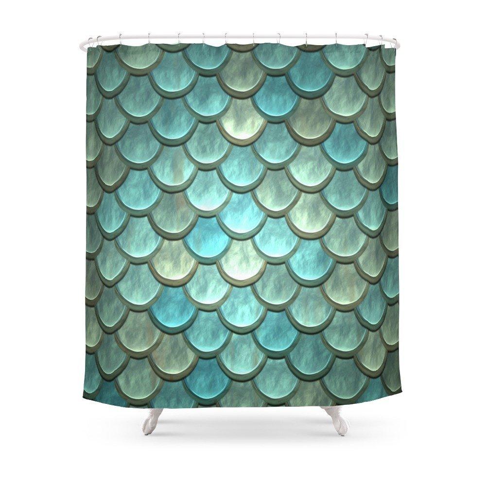 Serene Mermaid Scales Shower Curtain Custom Curtain For Bathroom Waterproof Polyester
