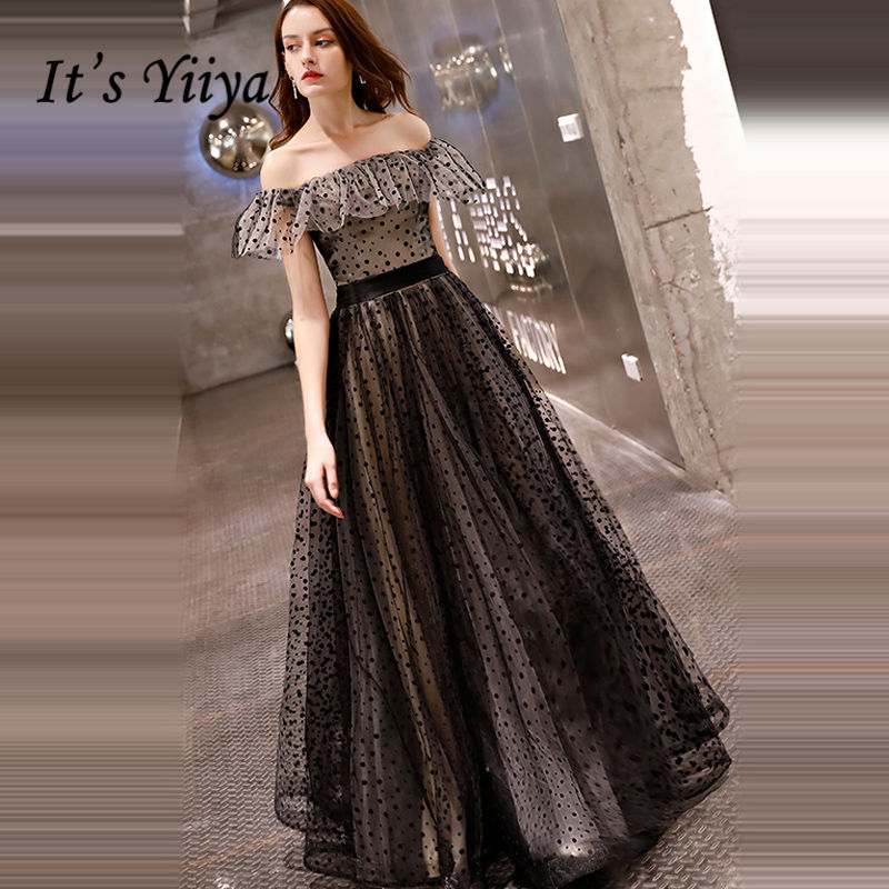 It's YiiYa Evening Dress 2018 Boat Neck Ruffles Design Dot Black A-line Floor-length Dinner Gowns LX1309 Robe De Soiree