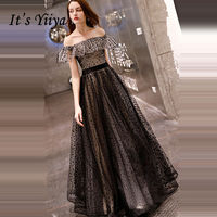 It's YiiYa Evening Dress 2018 Boat Neck Ruffles Design Dot Black A line Floor length Dinner Gowns LX1309 robe de soiree