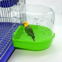 Peony Parrot Bath Box Shower Bathing Supplies Bird Bathtub Cage Bird Bath Shower Standing Bin Wash Space Random Color(China)