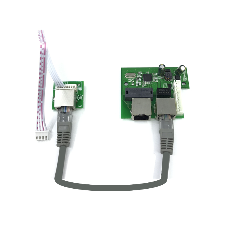 Oem Factory Direct Mini Fast 10 / 100mbps 3-port Ethernet Network Lan Hub Switch Board Two-layer Pcb 2 Rj45 1 * 8pin Head Port Reliable Performance