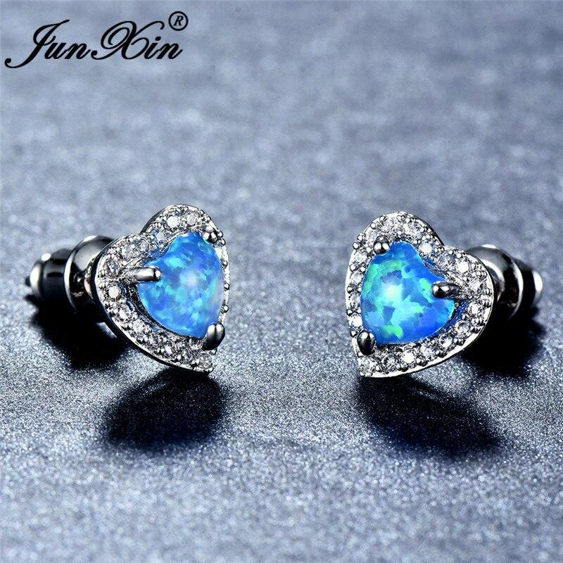 JUNXIN Cute Heart Stud Earrings For Women Rose Gold Filled Blue Fire Opal Earrings Female Rainbow Zircon Birthstone Earrings CZ