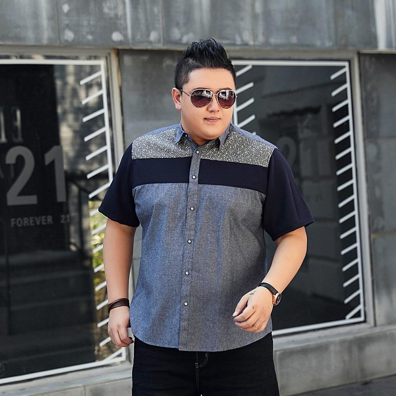 Shirt Taille Coton 100 Casual Plus Big Chemise À Patchwork Engrais Gray Tall Code Revers Manches Entreprise And La 7xl Courtes D'été Grand 8xl Owanqwrd