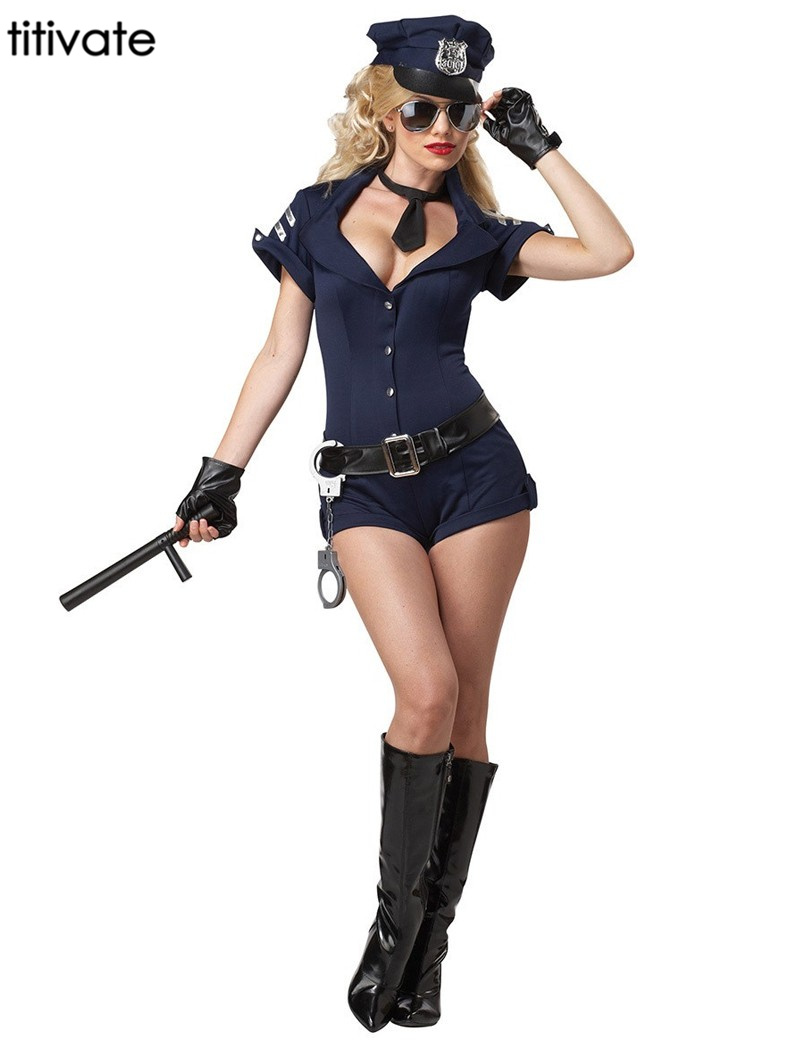 TITIVATE Ladies Police Women Lingerie Bar Fancy Game Stage Officer Halloween Uniform Erotic Outfit Cosplay Costume for Adult