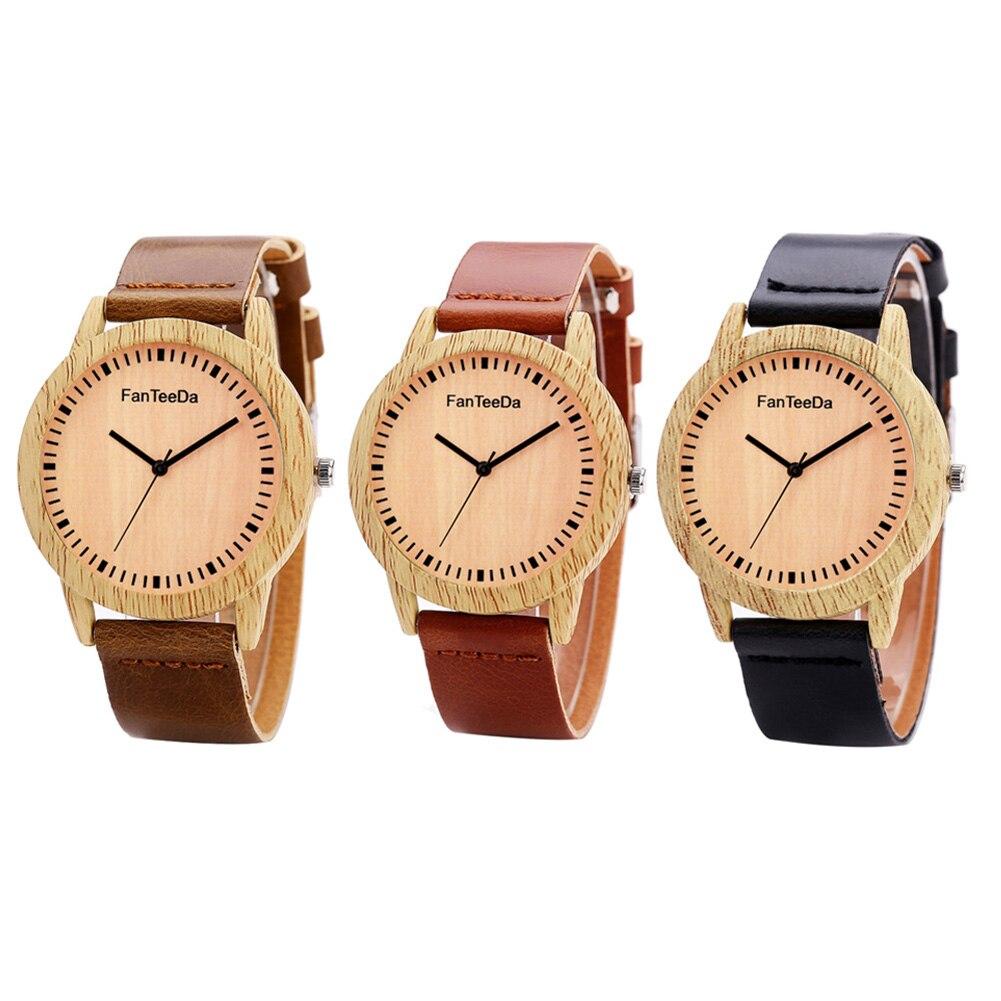 2017 Hotsale Women Leather Strap Casual Wooden Ladies Women Girl Quartz Wristwatch Best Gift to Your Friends