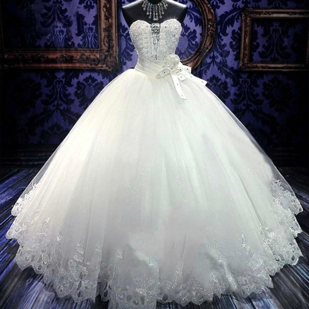Fansmile High Quality Luxury Crystal Ball Wedding Dresses 2020 Vintage Vestido De Noiva Customized Plus Size Bride Gown FSM-069F