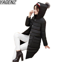YAGENZ 2017 Winter New Women Cotton Clothes Elegant Down Cotton Coat Female Big pocket Down Jacket Women Casual Hooded Outerwear