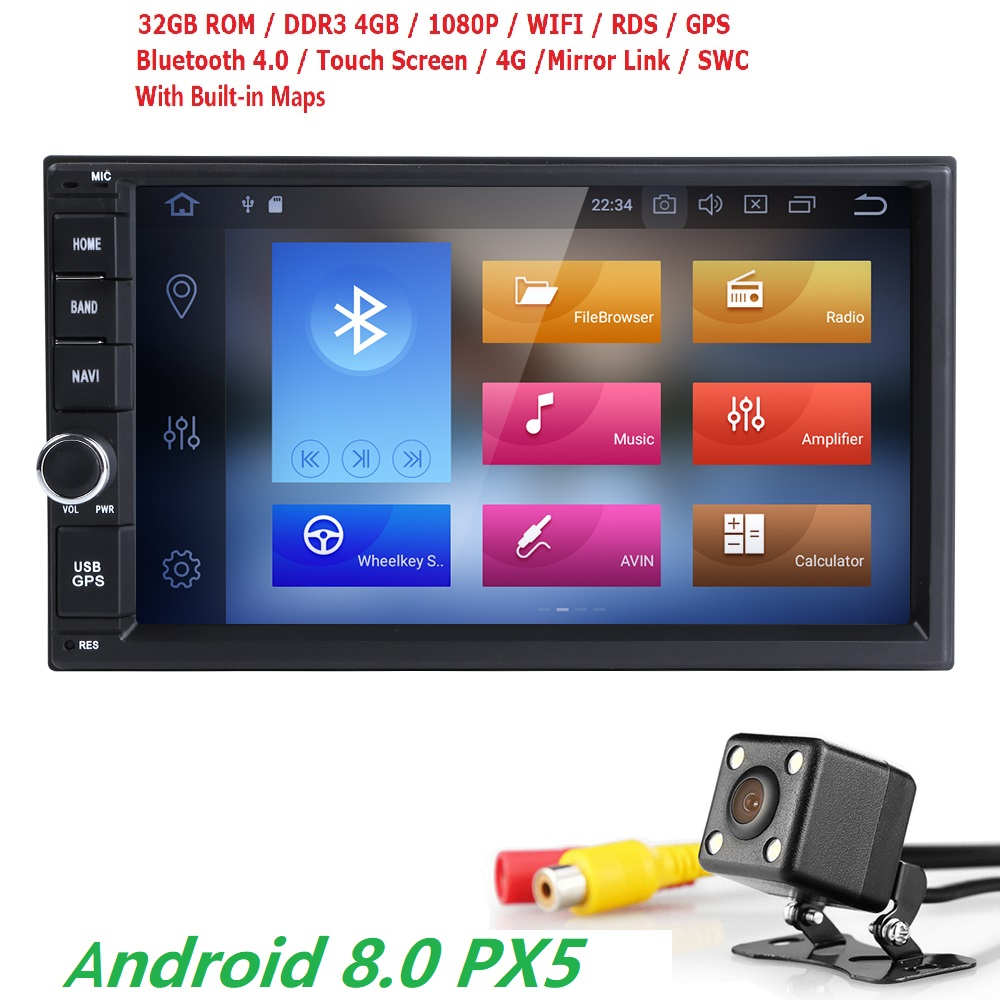 Quad Core Pure Android 8.0 Car Multimedia Player Car PC Tablet Double 2din 7'' GPS Navigation Car Stereo Radio Bluetooth NO DVD