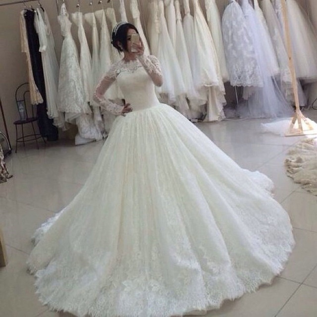French Style Long Sleeve Covered Lace Wedding Dress 2018