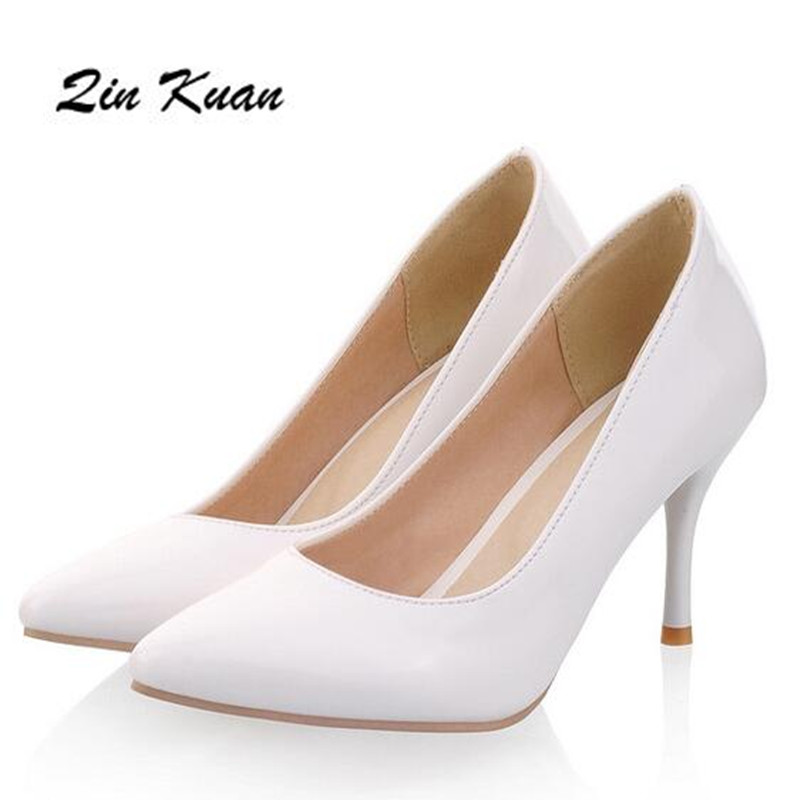 Plus Size 34-47 Ladies Fashion Pointed Toe Office High Heel Shoes Women Party Pumps Fashion Wedding High Heel Shoes QKP0016B