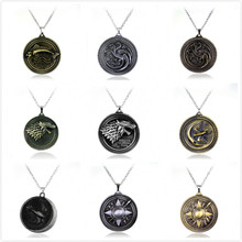 Jewelry of TV Game of Thrones Necklace Stark family lion dragon deer Lannister Targaryen House Stark Wolf Necklaces Pendants