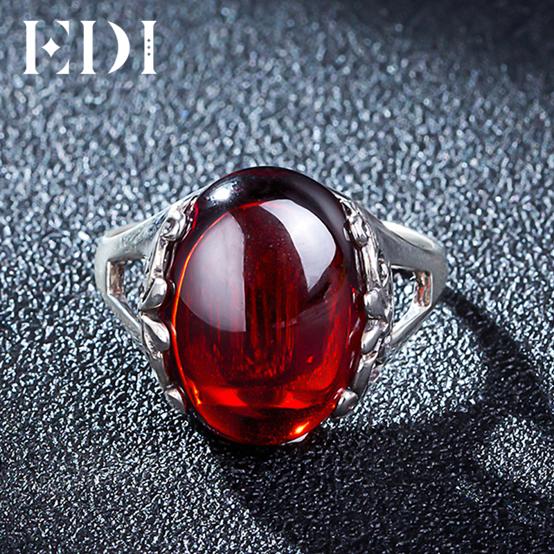 EDI 10ct Oval Garnet 925 sterling silver jewelry Ring For Women European Royal Promise Wedding Bands