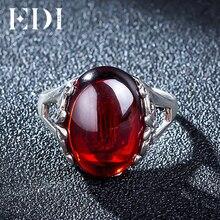 EDI 10ct Oval garnet 925-plata-Anillo de la joyería Para la Mujer Europea Royal Wedding Bands Promesa de Apertura Ajustable