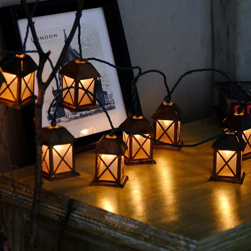 40 Led Fairy Retro House Lantern Battery Operated String Lights 6M LED Decoration For Christmas Garland New Year Lichterketten