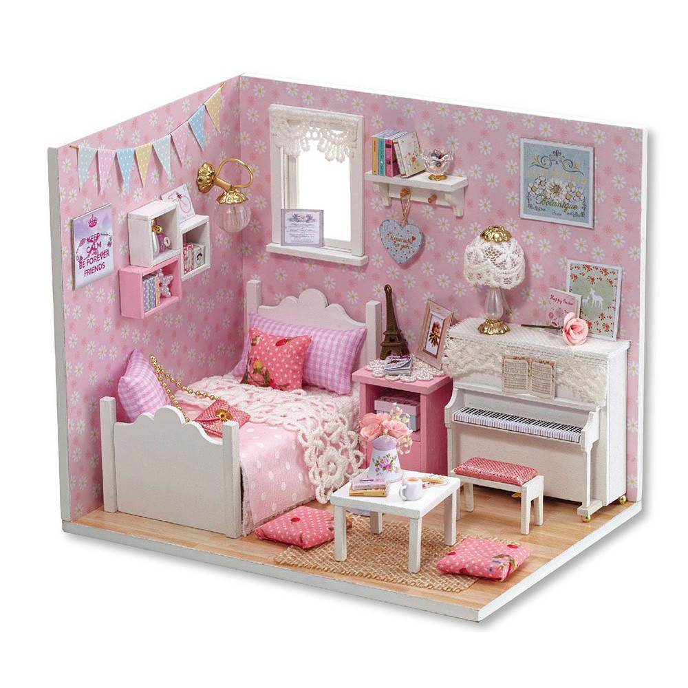Creative DIY 3D Dollhouse Paper Miniature Furniture Kit Kids LED Light Grils Valentines Day Sunshine sweet princess Gift x#