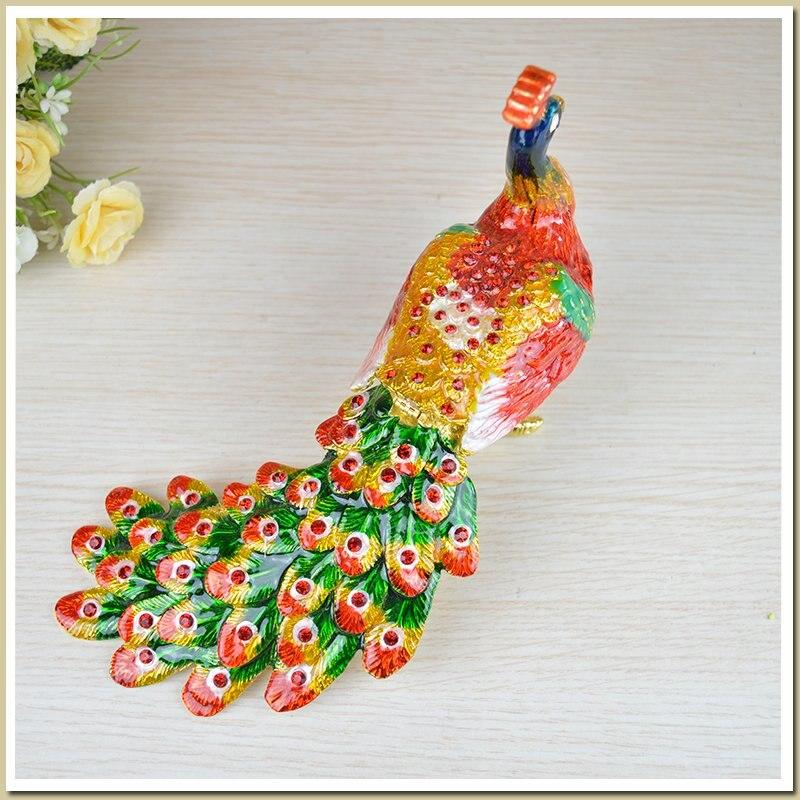 Russie couleur étain artisanat décoration paon boîte à bijoux grand paon queue cadeau d'anniversaire