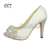 2016 New Fashion Sexy Women Pumps White Crystal Wedding Shoes Peep Toe Rhinestones Prom Party Shoes