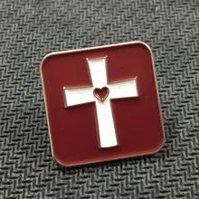 Metal Cross Red Soft Enamel Square Lapel Pins custom oem metal badges