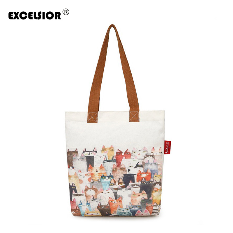 EXCELSIOR Cute Cat Printed Canvas Handbag Tote Female Single Shopping Bags Large Capacity Women Canvas Casual Beach Tote g1456 miyahouse cute cat printed beach bag women large capacity shopping bags vintage female single shoulder bag canvas ladies handbag