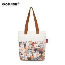 EXCELSIOR милый кот печатных холст Для женщин сумка тонкие женские сумки большой Ёмкость женские парусиновые Повседневное Beach Tote