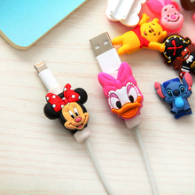 2pcs Lovely Cartoon Cable Protector de cabo USB Cable Winder Cover Case For IPhone 5 5s 6 6s 7 7s plus cable Protect stitch owl
